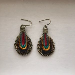 new never worn thread & brass earrings